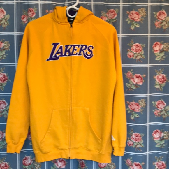 Adidas Shirts Tops Lakers Gold Zip Up Hoodie Long Sleeve Large Poshmark